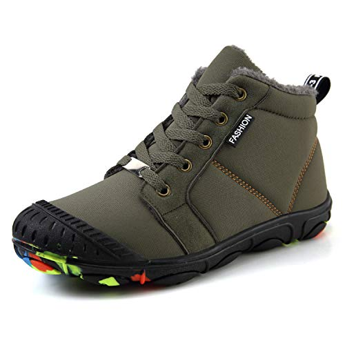 SCIEN Kids Snow Boots Boys Girls Winter Warm Outdoor Shoes Fur Lined Sneaker, Green 32