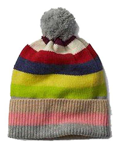 Gap Womens Crazy Stripe Pom Pom Merino Wool Blend Winter Hat