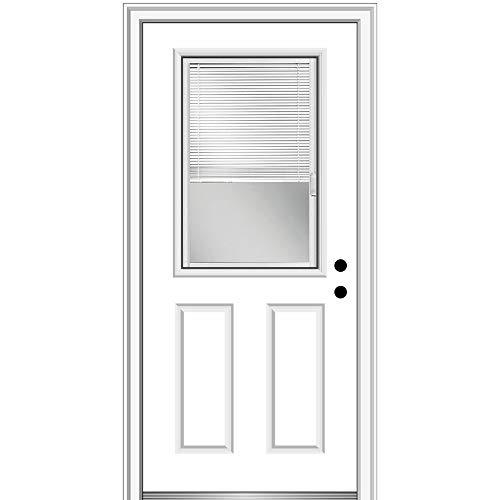 "National Door Company ZFS684BLFS26L Fiberglass Smooth, Primed, Left Hand Inswing, Exterior Prehung Door, Internal Blinds, 1/2 Lite 2-Panel, 30""x80"""