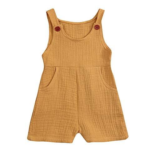 Baby Boy Girls Sleeveless Romper Infant Linen Onesies Jumpsuit Vintage Clothes (Yellow, 90/12-18 Months)