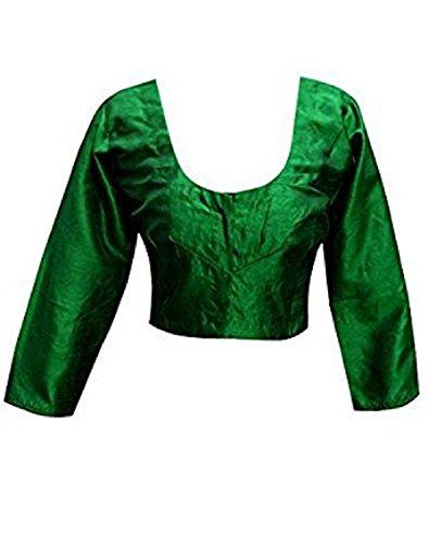 (Designer Women Choli Indian Green Raw Silk Blouse Wedding Party Wear Best Match for Saree By Ethnic Emporium)