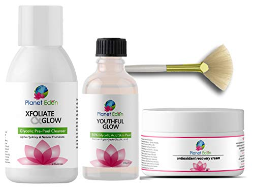 Planet Eden 50% Glycolic Chemical Acid Skin Peel Kit + Glycolic Acid Pre-Peel Cleanser + Antioxidant Recovery Cream + Treatment Fan ()