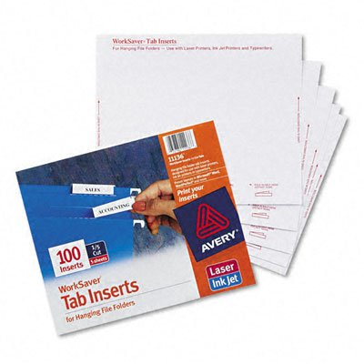 Avery : Laser/Inkjet Inserts for Hanging File Folders, 1/5 Tab, 2in, White, 100/Pack -:- Sold as 2 Packs of - 100 - / - Total of 200 Each