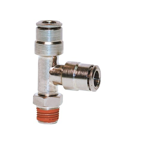 Brennan PCNB2605-04-02-04 Nickel-Plated Brass Push-to-Connect Tube Fitting, Run Tee, 1/4