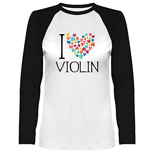 Idakoos I Love Violin Colorful Hearts Musical Instrument Raglan Long Sleeve T-Shirt