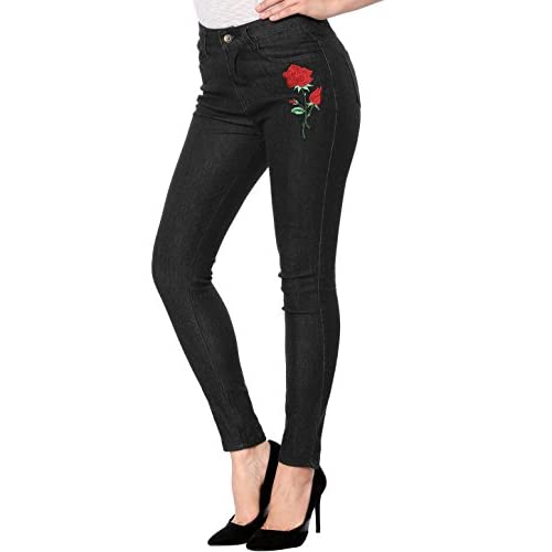 Discount Allegra K Women's Rose Floral Applique Slim Skinny Valentine's Day Denim Jeans