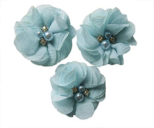 "YYCRAFT 20 Pcs Chiffon Flower Rhinestone Pearl for Dress Sewing,DIY Hair Bows Craft and Party Decoration(Blue,2"")"