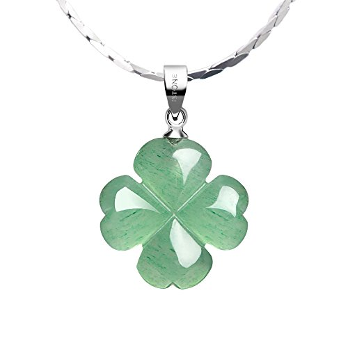Necklace Silver Leaf Agate (iSTONE Green Jade Lucky Four Leaf Clover Heart Pendant 925 Sterling Silver Necklace 18 Inches Fine Jewelry for Women)