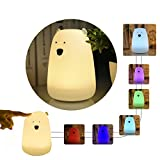 Cheap B-Right Baby Night Light, LED Nightlights for Children, USB Rechargeable Multicolor Soft Silicone Tap Control Toddler Baby Lamp, Birthday Gifts Cute Bear Nursery Lamp for Kids,Girls,Boys