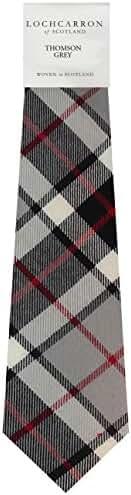 Thompson Grey Tartan (Modern) Soft Pure Wool, Mens Tie