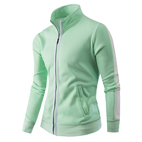 WUAI Clearance Deals, Men's Baseball Jackets Outdoors Fashion Sports Full-Zip Athletic Active Outwear(Light Green,US Size 3XL = Tag ()