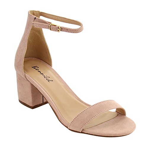 Bonnibel Womens Reina Ankle Strap Middle Block Heel Single Sole Dress Shoe Sandals Blush PizTteB