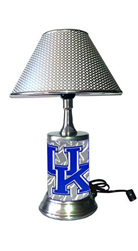 Rico Table Lamp with Chrome Colored Shade, Kentucky Wildcats Plate Rolled in on The lamp Base, Base Wrapped with Diamond Metal -