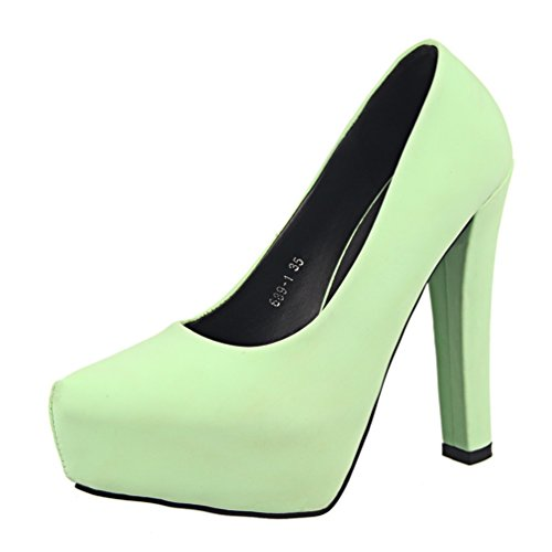 HooH Women's Simple Candy Color Platform Chunky Pump Green dDgCAak1