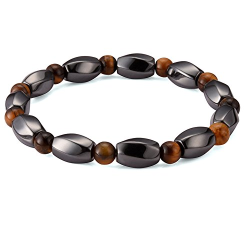 Cat Eye Jewels Mens Beaded Bracelets Magnetic Hematite Natural AA Tiger Eye Beads Healing Energy Gemstone Stretch Bracelets for Men