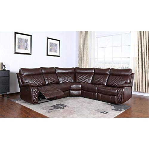 Kingway Furniture Alexandra 3 Piece Leather Reclining Sectional - Brown