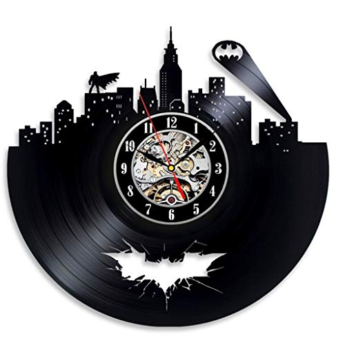 GZHYTAN Vinyl Evolution Batman Arkham City Logo Best Wall Clock - Decorate Your Home with Modern Large Superhero Art - Gifts for Friends, Men and Boys (Color : A, Size : 12 inches)