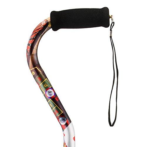 NOVA Medical Designer Walking Cane with Offset Handle, Lightweight Adjustable Walking Stick with Carrying Strap,