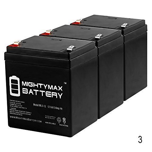 UPC 730052547412, 12V 5AH Battery for Razor E100 E125 E150 E175 Scooter - 3 Pack - Mighty Max Battery brand product