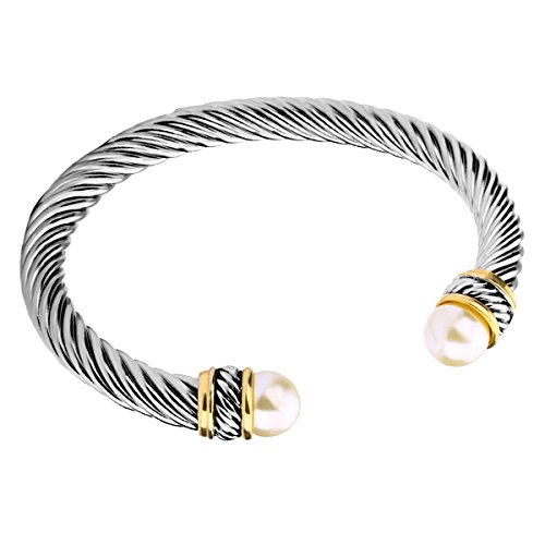 Bangle Silver Designer Bracelets - UNY Fashion Jewelry Brand Cable Wire Bangle Elegant Beautiful Imitation Pearl Valentine