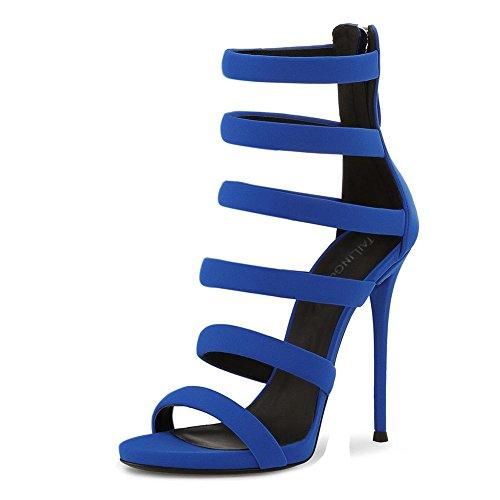 Mujeres Strappy Mirar furtivamente Dedo del pie Señoras Estilete Alto Tacón romano Sandalias Fiesta Vestir Club nocturno Cremallera Azul Blue