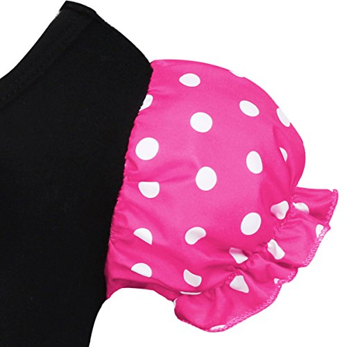 Kid Girl Minnie Costume Tutu Dress Ear Headband Outfit Summer Puff Sleeve Polka Dot Ruffle Bowknot Christmas Halloween Dress Up # Hot Pink 2-3 Years by OBEEII (Image #4)