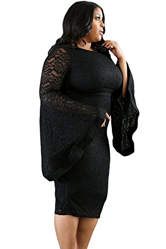 Buy bell sleeve black lace dress - 3
