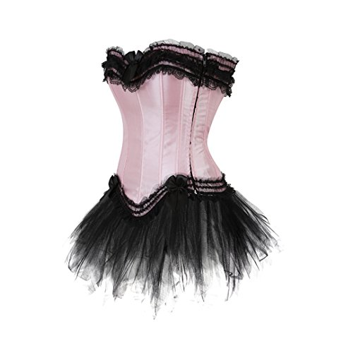 Kranchungel Women's Gothic Lace up Corset Skirt Moulin Rouge Showgirl Clubwear Costume Corsetto Bustino Negro Rosa