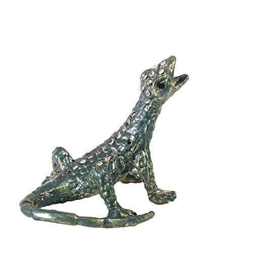 Kiartten Jewelry Display - Metal Gray Lizard Figurine Trinket Box Wedding Jewelry Storage Case Souvenirs Birthday Gift Crafts Ring Earring Box 1 Pcs - Lion Figurine Metal