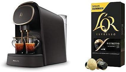 Pack Philips LOR Barista LM8016/90 - Cafetera compatible con cápsula individual/doble, 19 bares presión, depósito 1L, acabado Premium + LOr Ristretto 5 paquetes 10 cápsulas: Amazon.es: Hogar