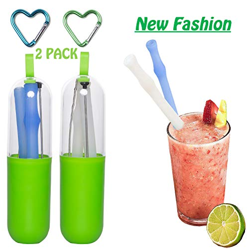 (Upgrade Design 10 inch Collapsible Silicone Straws Set, PASNOWFU New Design Reusable Drinking Straws Folding Drinking Straws BPA-Free, Includes Cleaning Brush and Carry Case for Travel, Home, Office)