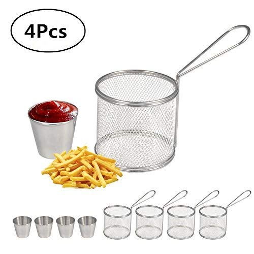 Fry Baskets, Mini Round Stainless Steel French Fries Mesh Fryer Basket Holder Cooking Tool with Sauce Cup for Table Serving Food Presentation Kitchen Use(4pcs Baskets + 4pcs Cups)