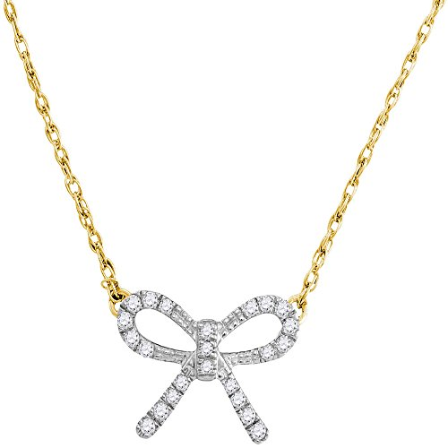 Bow With Diamond Necklace - 10k Yellow Gold Diamond Bow Tie Pendant Necklace Love Knot Charm Fashion Style Polished Fancy 1/10 Cttw