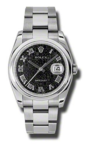 (Rolex Oyster Perpetual Datejust 36mm Stainless Steel Case, Domed Bezel, Black Jubilee Dial, Roman Numeral And Oyster Bracelet.)
