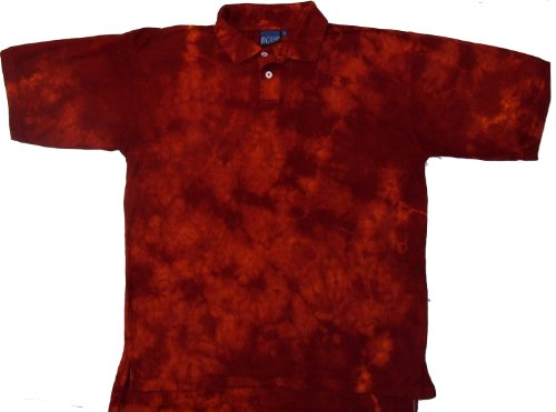- Tie Dyed Shop Cayenne Crinkle Golf Tie Dye Sport Collared Polo Style Shirt-Small-Multicolor