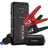 TrekPow 1500A Peak Car Jump Starter Upgraded Portable Battery Booster with Smart Battery Clamps, QC3.0, Type-C Input…