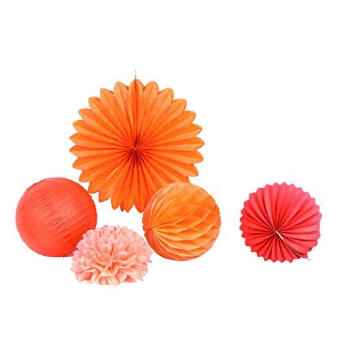 (5pcs/Set Tissue Paper Pompoms Fans Honeycomb Balls Lanterns Wedding Decorations  Color - Red and Orange )