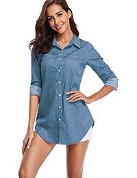 Women's Chambray Button Down Shirt, Long Sleeve Cotton Blouse, Long Jeans Tunic Top