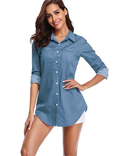 fuinloth Women's Chambray Button Down Shirt, Long Sleeve Cotton Blouse, Long Jeans Tunic Top Blue Medium ()