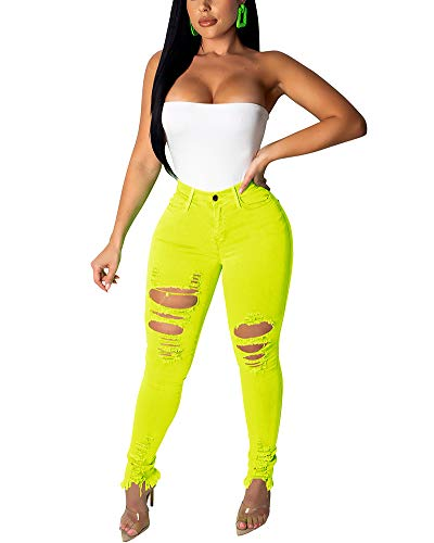 Halfword Women's Ripped Stretch Denim Skinny Jeans High Waist Mid Rise Straight Leg Jean Distressed Plus Size Jeans Yellow