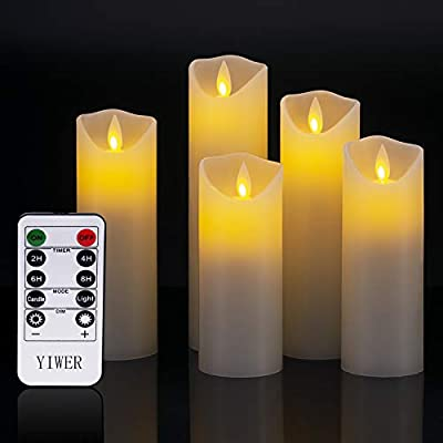 YIWER Flameless Candles, Real Wax Not Plastic Pillars, Include Realistic Dancing LED Flames and 10-Key Remote Control with 2/4/6/8-hours Timer Function, 300+ Hours (Ivory)