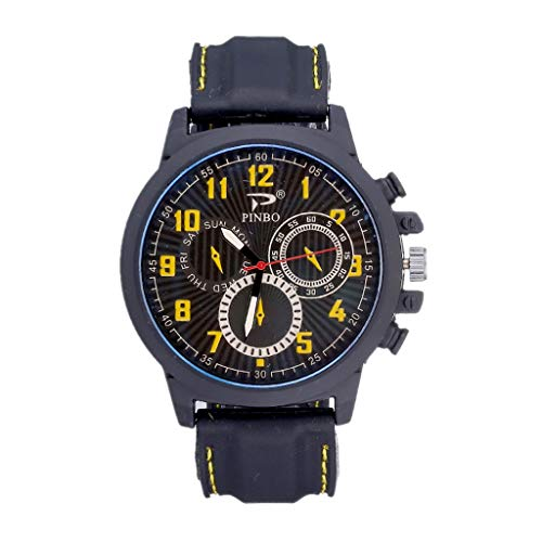 (Men's Watch,WoCoo Fashion Multifunction Date Analog Quartz Big Face Dial Sport watches with Leather Strap Wristwatch(B,One Size))