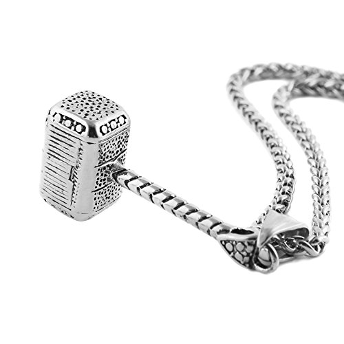 HZMAN Thor Hammer Stainless Steel Necklace For Men and Women Hammer Pendant Necklace 24 Inch Chain, Silver -