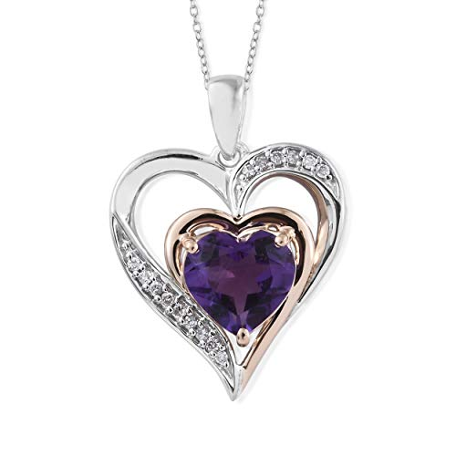 Amethyst Necklace in Heart Shape Sterling Silver and 10k Rose Gold with Diamond Accent