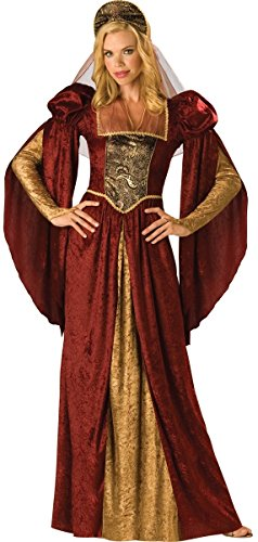 Ladies Long Red Medieval Maid Marian Renaissance Fancy Dress Costume Outfit UK 8-18 (UK 10-12)]()