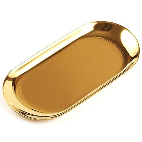 Cikuso Bandeja de Almacenamiento de Metal Plato de Fruta Punteado Oval Oro Espejo Bandeja de exhibicion de Joyas articulos pequenos