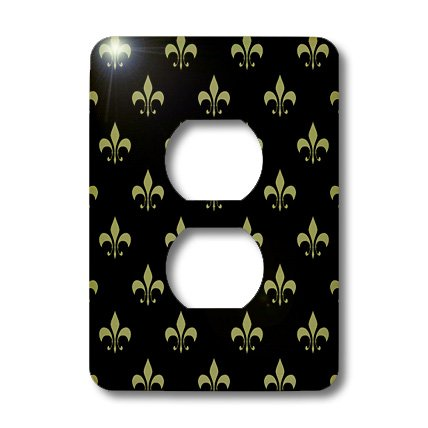 3dRose lsp_20539_6 Gold Fleur De Lis On A Black Background Christian Saints Symbol 2-Plug Outlet Cover by 3dRose