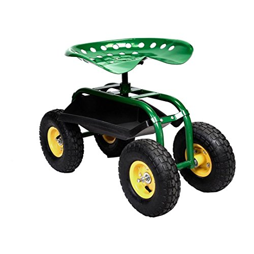 Rolling Garden Cart Work Seat With Heavy Duty Tool Tray Gardening Planting Green by Unknown