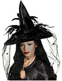 Women Deluxe Witch Hat Halloween Costume Sharp Pointed with Veils Spiders Feathers for Party Carnival