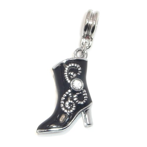 "Jewelry Monster Silver Finish ""Dangling Black Enamel Women's Cowboy Boot w/ White Rhinestone"" Charm Bead for Snake Chain Charm Bracelet 10245"